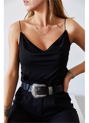 XHAN Degaje Yaka Askılı Bluz 0Yxk2-43402-15 Siyah